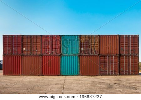 Container handling and storage in shipyard. Container storage