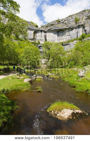 Malham Cove Yorkshire Dales UK popular visitor attraction