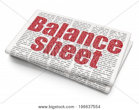 Money concept: Pixelated red text Balance Sheet on Newspaper background, 3D rendering