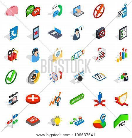 Analytics icons set. Isometric style of 36 analytics vector icons for web isolated on white background