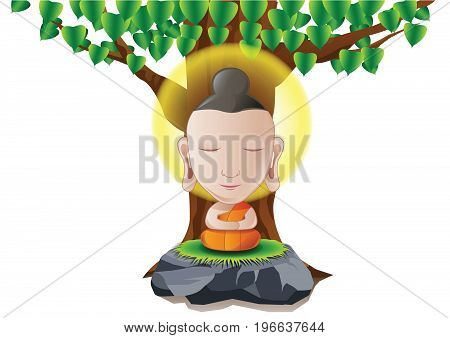 Lord of Buddha become enlightened under tree in cartoon version,vector illustration