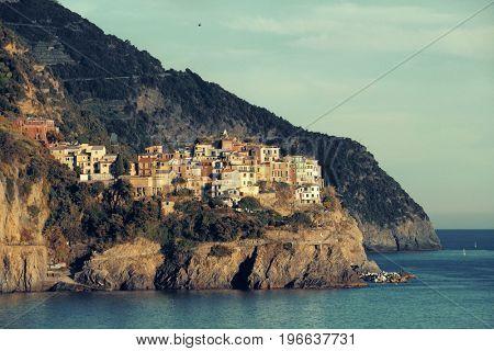 Manarola buildings viewed from Corniglia in Cinque Terre in Italy