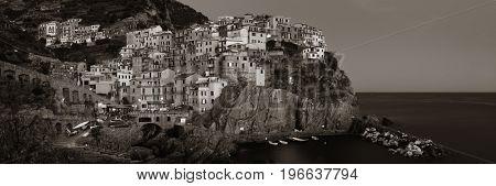 Manarola overlook Mediterranean Sea with buildings over cliff in Cinque Terre at night panorama, Italy.
