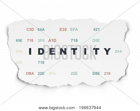Privacy concept: Painted black text Identity on Torn Paper background with  Hexadecimal Code