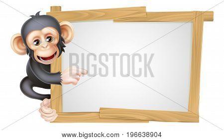 Cute cartoon chimp monkey like character mascot peeking around a sign and pointing at it