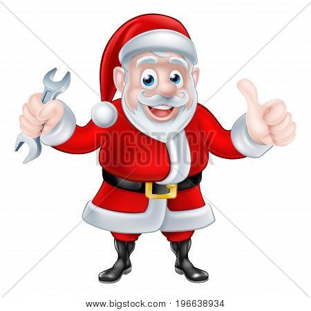 Christmas cartoon Santa Claus holding mechanic or plumber spanner and giving a thumbs up