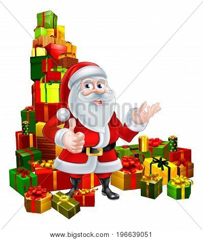 Christmas illustration of Santa Claus giving a thumbs up and standing in the middle of a huge stack of gifts