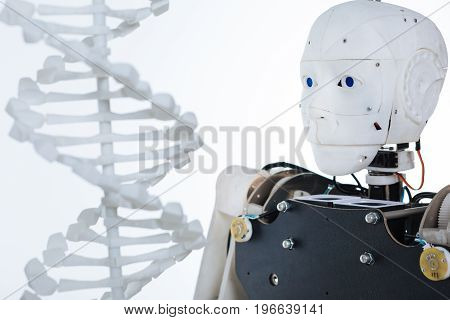 Combining unconventional fields. White robot with artificial intelligence standing isolated on white background and looking at the molecule of human DNA
