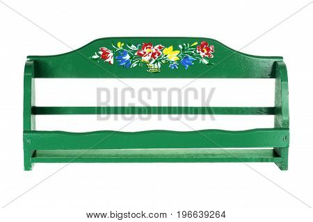 Green Wooden Kitchen Rack on White Background