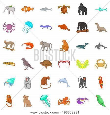 Animal icons set. Cartoon style of 36 animal vector icons for web isolated on white background