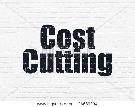 Finance concept: Painted black text Cost Cutting on White Brick wall background
