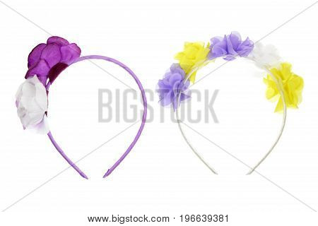 Two Hair Bands on Isolated White Background