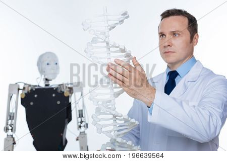 Implementing innovative approach. Careful precise enthusiastic man holding up plastic model of human genome while thinking about the concept of combining it with robotic mechanisms