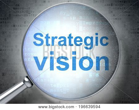 Finance concept: magnifying optical glass with words Strategic Vision on digital background, 3D rendering