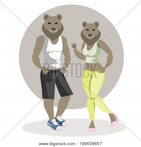 Bears man and woman. Vector illustration fashion bears