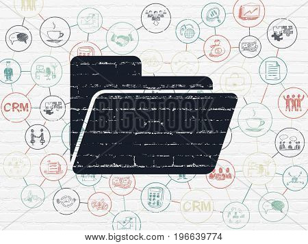 Business concept: Painted black Folder icon on White Brick wall background with Scheme Of Hand Drawn Business Icons