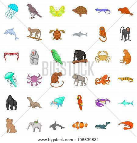 Different animals icons set. Cartoon style of 36 different animals vector icons for web isolated on white background