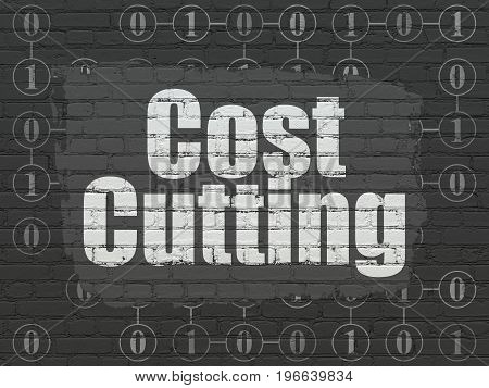 Finance concept: Painted white text Cost Cutting on Black Brick wall background with Scheme Of Binary Code