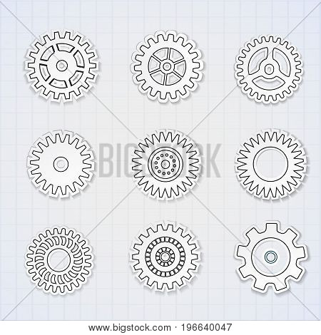 Gears black white line icons set on copybook sheet flat isolated vector illustration