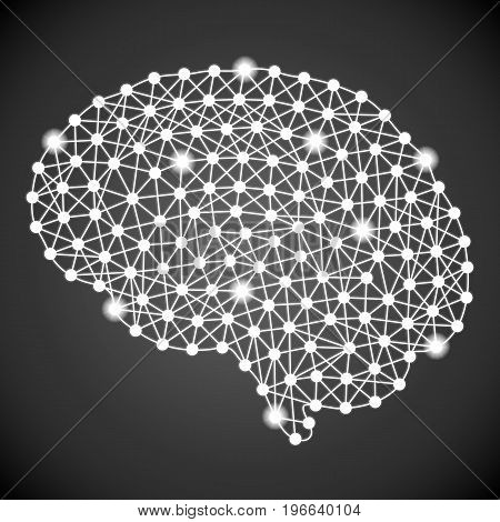 Human Brain Isolated On A Black Background. Vector Illustration.Neurology. Creative Medical Concept