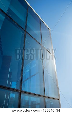 Windows of Skyscraper Business Office with blue sky