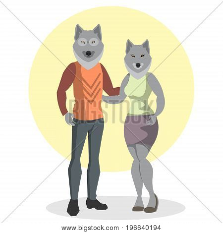 Illustration of the wolf and wolf fashion. Vector illistration