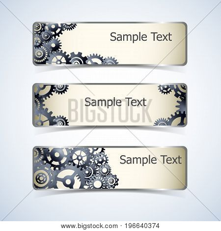 Gear realistic industrial horizontal banners set isolated vector illustration