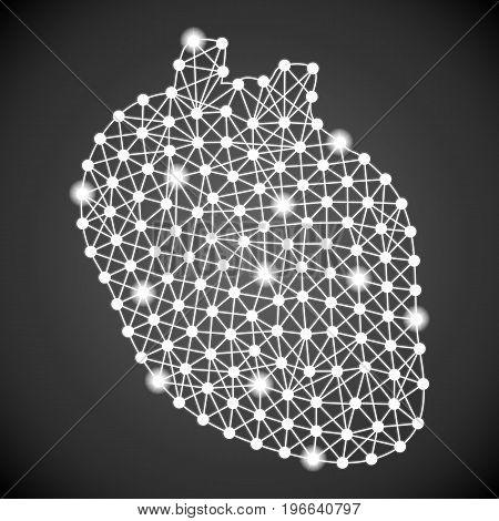 Human Heart Isolated On A Black Background. Vector Illustration.Cardiology. Creative Medical Concept