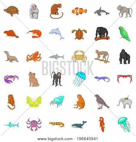 Animal in nature icons set. Cartoon style of 36 animal in nature vector icons for web isolated on white background