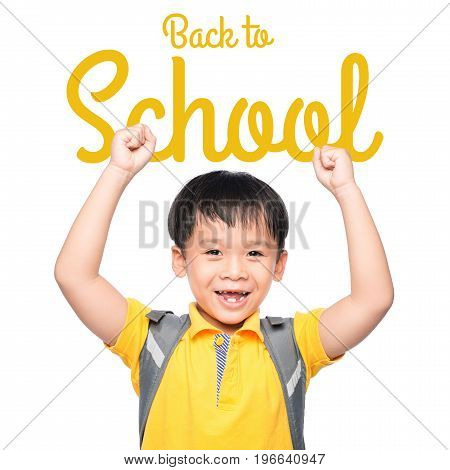 Back to School. Kids posing for back to school theme over white background. Back to School Concepts Set.