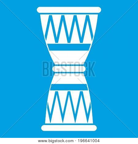 African drum icon white isolated on blue background vector illustration