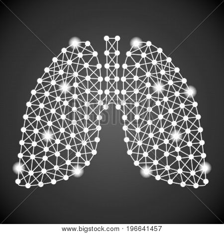 Human Lungs Isolated On A Black Background. Vector Illustration.Pulmonology. Creative Medical Concept