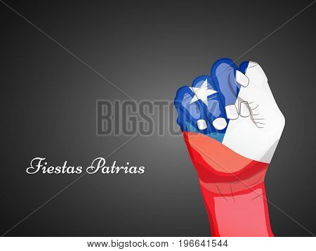 illustration of hand in Chile flag background with Fiestas Patrias text on the occasion of Chilean Fiestas Patrias
