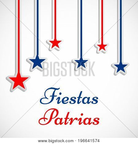 illustration of hanging stars with Fiestas Patrias text on the occasion of Chilean Fiestas Patrias