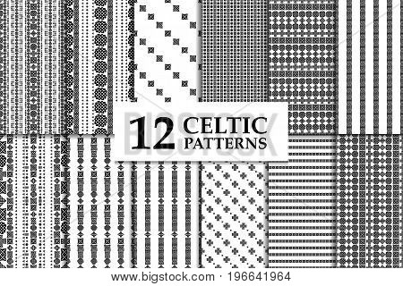 Celtic knot seamless black and white pattern set. Twelve ethnic abstract backgrounds.