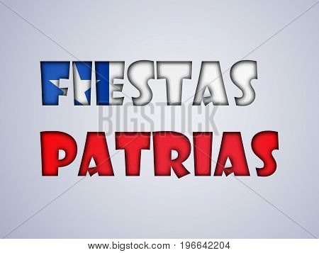 illustration of Fiestas Patrias text on the occasion of Chilean Fiestas Patrias