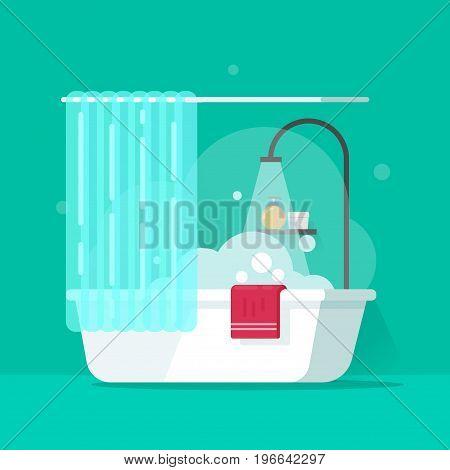 Bathroom vector illustration, flat cartoon bath with water flowing from shower and foam bubbles, bathtub
