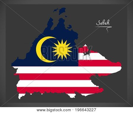 Sabah Malaysia Map With Malaysian National Flag Illustration