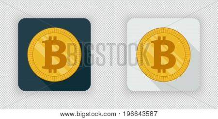 Light and dark crypto currency icon bitcoin on a transparent background