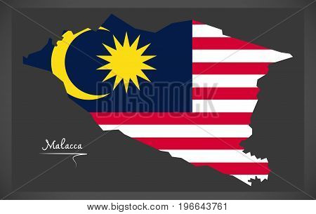 Malacca Malaysia Map With Malaysian National Flag Illustration