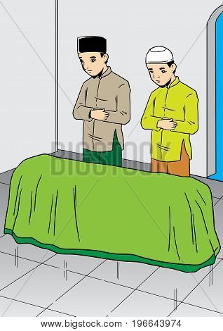 An Illustration of two asian men praying for the dead