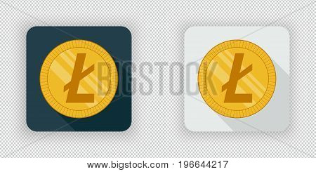 Light and dark crypto currency icon Litecoin on a transparent background