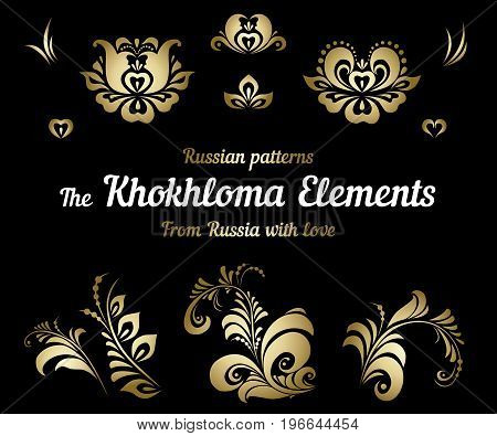 A set of traditional Russian Khokhloma painting. Gold color. Hohloma on black background. Russian national folklore. Collection of ornaments. Vintage craft. Vector. Isolated elemets.