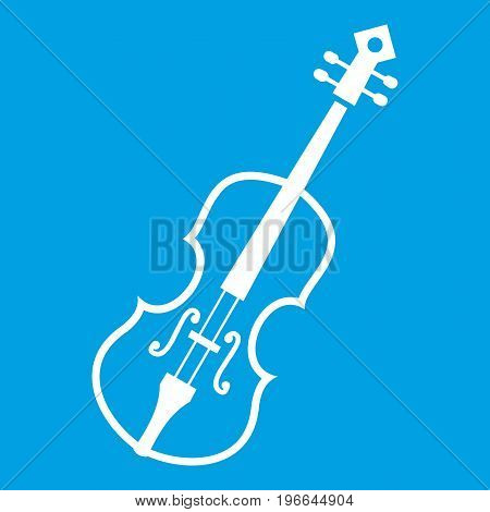 Cello icon white isolated on blue background vector illustration