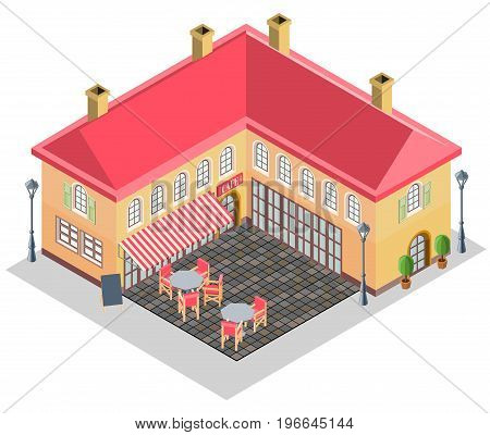 House and street cafe in the isometric projection. All elements are made separately and grouped. Vector illustration.