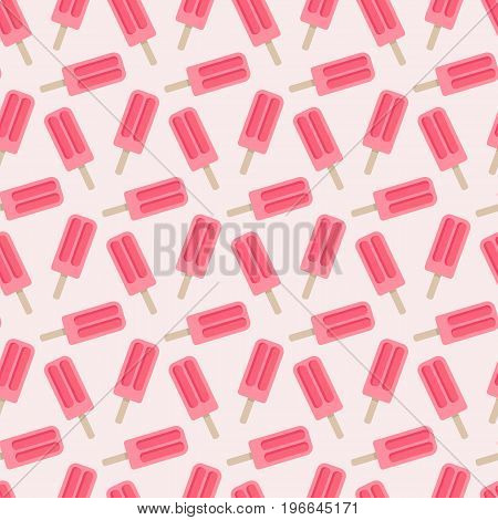 Popsicle vector seamless pattern Flat design of sweet food isolated on the light pink background vector illustration with swatch