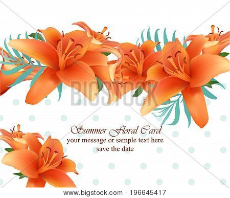 Tropical vector floral round card. Summerl template design with palm leaves and exotic flower