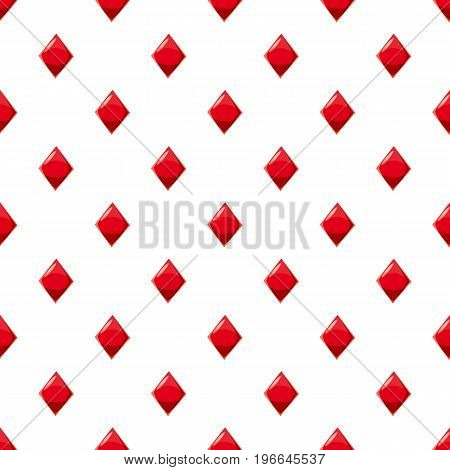 Diamond suit plying card pattern seamless repeat in cartoon style vector illustration