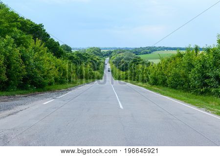 Asphalt road goes into the distance. Green trees are on both sides.