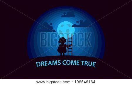 Dreams come true. Child with a stepladder on the moon background. Flat style conceptual illustration.
